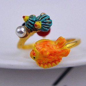 Les Nereides Orange Fish&Freshwater Pearl Ring
